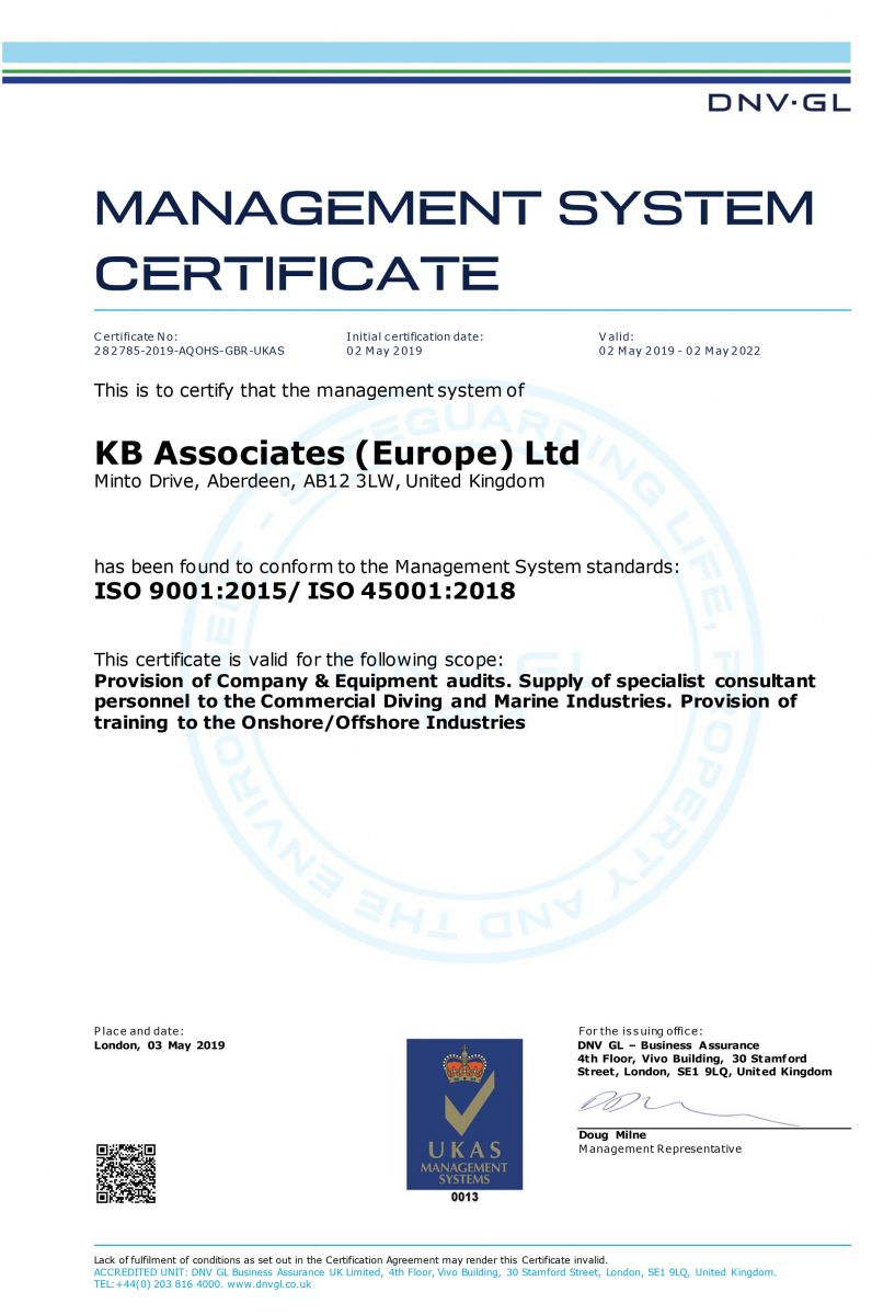 KB Associates Europe - ISO 9001+45001 Certificate